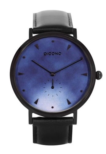 PICONO Watches black and blue A Week Collection Black Leather Strap Watch 8F173AC0B2513FGS_1