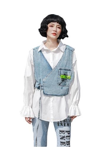 Twenty Eight Shoes Street Fashion Style Denim Vest Shirt Suit DD2006 987B2AAFF76121GS_1