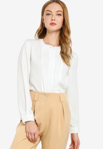 ZALORA WORK white Mini Pleats Long Sleeve Blouse 21B65AA3B62070GS_1