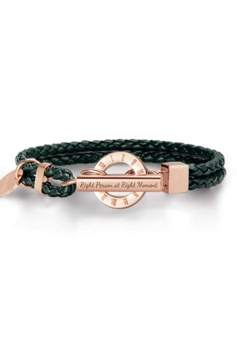 Crudo Leather Craft green La Memoria Double Woven Leather Bracelet - Olive Green (Rose Gold Edition) 45A2BAC7AF5BFFGS_1