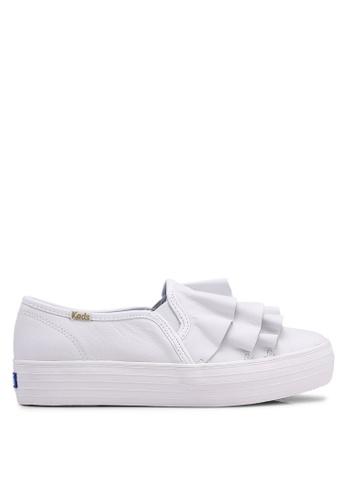 Keds 白色 荷葉飾厚底懶人鞋 79AF1SH9C4A138GS_1