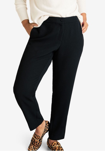 a810e2f55603a Violeta by MANGO black Plus Size Flowy Straight-Fit Trousers  D02A3AA1E53E36GS 1