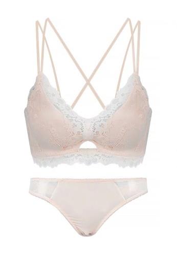 ZITIQUE beige Women's Sexy No Steel Ring Gathered Lingerie Set (Bra And Underwear) - Beige A01F6USCF470FEGS_1