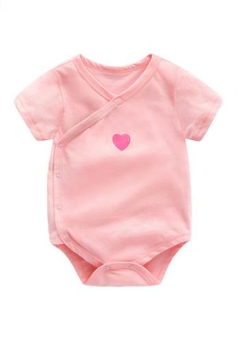 Kiddies Crew pink I Heart You Boys Girls Baby Kids Short Sleeve Romper Onesie Overalls Bodysuit (Pink) FB3E9KAE2F471FGS_1