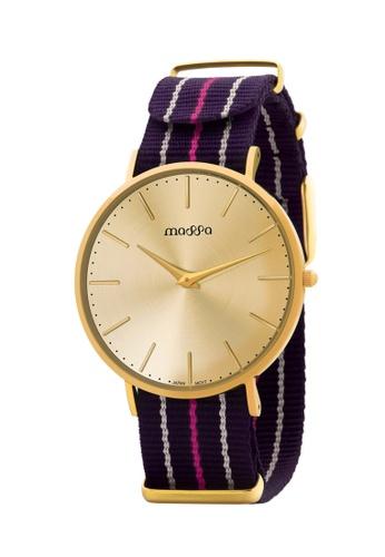 Massa Collections multi Grace Female Gold Gold w/ Purple Pink Nato 3F28BACCE01E7DGS_1