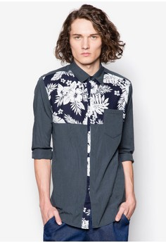 Tropical Floral Panelled Long Sleeve Shirt