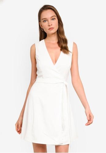 REUX white Aliza Wrap Mini Dress 0D09FAAC5DFACAGS_1