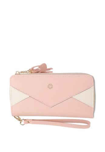 Wild Channel pink Faux Leather Long Wallet 1900DAC877F2EFGS_1