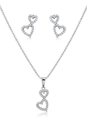 SO SEOUL silver Double Heart Diamond Simulant Earrings And Necklace Set 5AFACAC901C16EGS_1