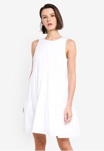 Banana Republic white Sleeveless Tiered Poplin Mini Dress AD20CAAB1C7E4AGS_1