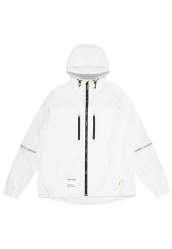 Fingercroxx white Logo patch zip jacket D10D2AAA99E781GS_1