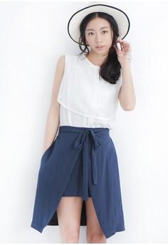 Tied Up Surplice Overlap Skirt