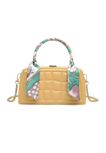 Lara yellow Women's Embossed Checkered Leather Chain Cross-body Bag - Yellow 0CAFDAC0DA1817GS_1
