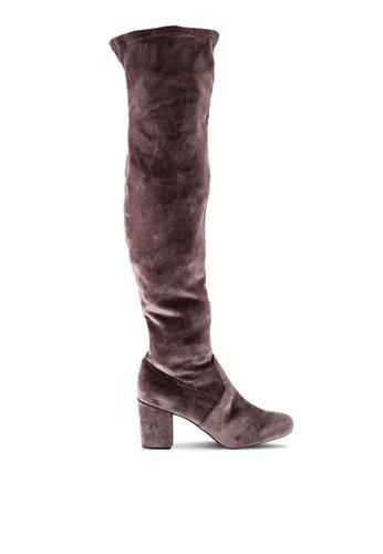 ZALORA 褐色 Over The Knee 靴子 0E5AEZZ10DA892GS_1