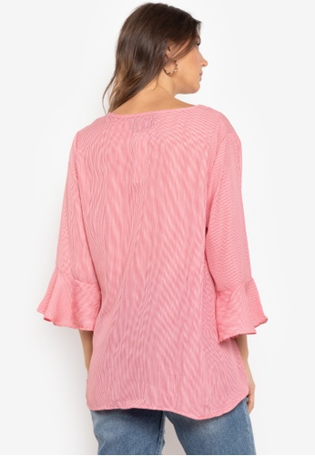 ba5aaf109ab0a Shop Chloe Edit Themis Asymmetrical Blouse With Trumpet Sleeve Online on  ZALORA Philippines