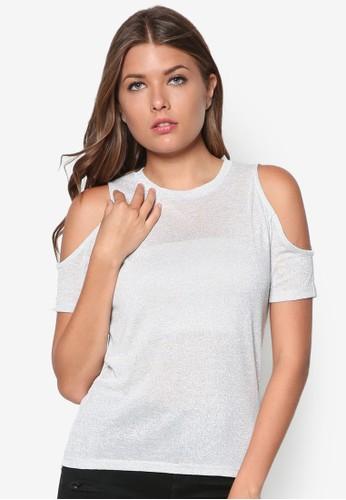 挖肩亮面短袖zalora 包包評價上衣, 服飾, 服飾