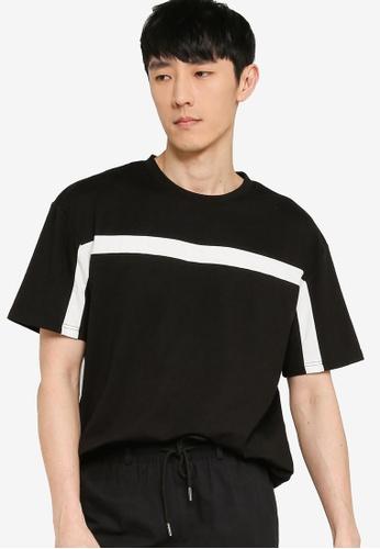 ZALORA BASICS black and white Contrast Trim Oversized T-Shirt A6199AA0CC5C68GS_1