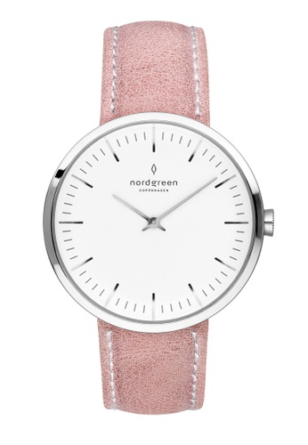 Nordgreen pink and silver Nordgreen Infinity Silver 32 mm - Pink Leather Watch 44D56ACF6D4B4EGS_1