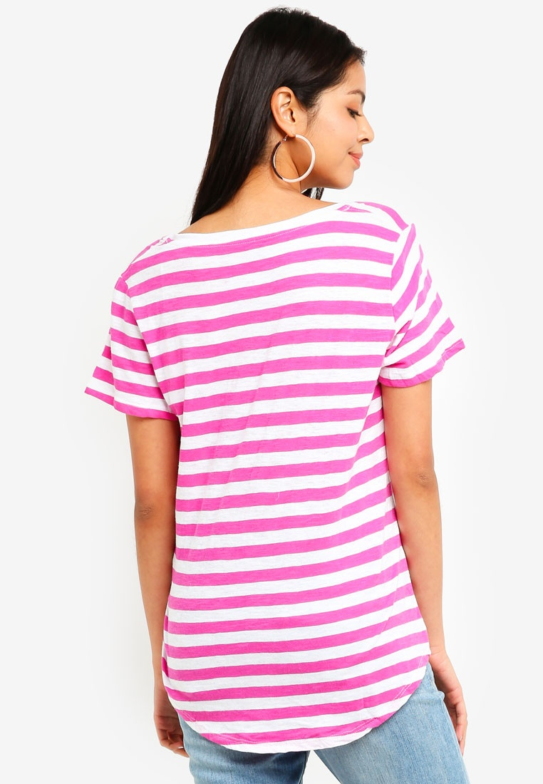 Violet Top Cotton Rose Mari White On The Deep V Stripe 6Iw1zIqr