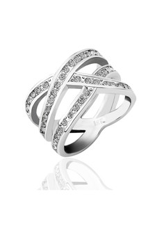 Danica Criss Cross 18K White Gold Plated Ring (Actual Size 6)