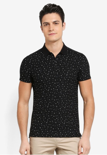 G2000 black Irregular Dot Print Polo 0AA20AA4337362GS_1