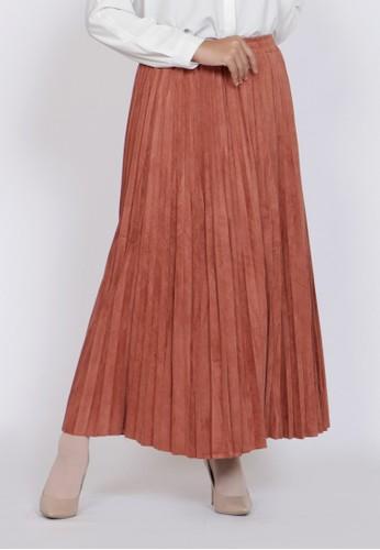 ZAHRA SIGNATURE orange Long Skirt Plisket D0025AAD35B565GS_1