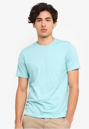 UniqTee 藍色 修身Crew T恤 385B5AA49014ADGS_1