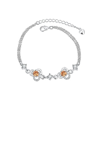 Glamorousky gold Simple and Fashion Three-leafed Clover Champagne Cubic Zircon Bracelet 15E02AC0987FB4GS_1