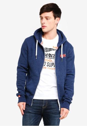 Superdry 藍色 素色連帽外套 A764BAA1F92C78GS_1
