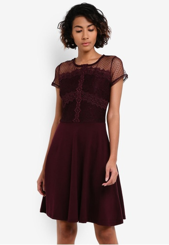 Dorothy Perkins purple Lace And Mesh Mix Dress DO816AA0RV3QMY_1