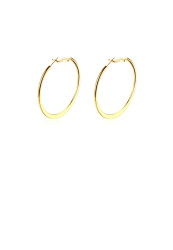 Glamorousky silver Simple Plated Gold Round Earrings A5AECAC1F6C32DGS_1