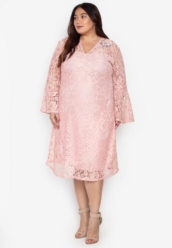 946eed1e59f5e Ashley Collection Plus pink Plus Size V-Neck Bell Sleeve Sheath Dress  9F2CFAA05481BCGS 1