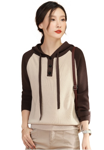 A-IN GIRLS brown and beige Fashion Color Matching Hooded Sweater DECB1AA6F366E5GS_1