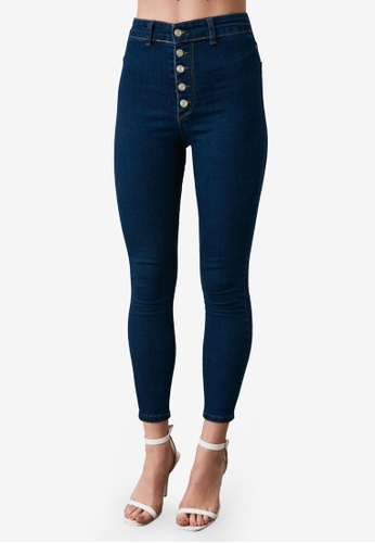 Trendyol navy Button High Waist Super Skinny Jeans 15B39AA747D501GS_1