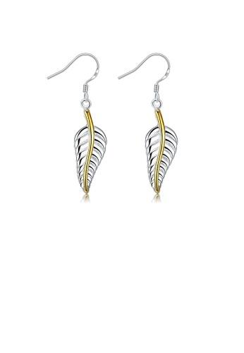 Glamorousky silver Simple Feather Earrings B31BAAC0C9F89DGS_1