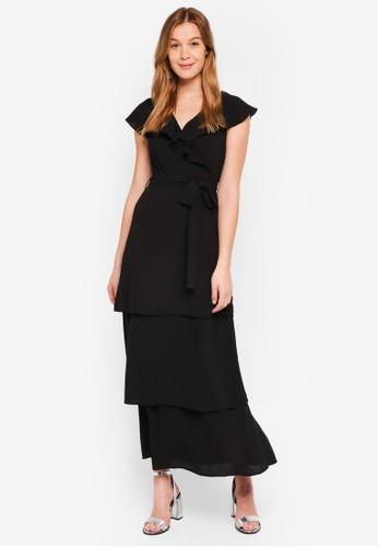 LOST INK black Petite Ruffle Neck Tiered Maxi Dress 9C789AA4105A7FGS_1