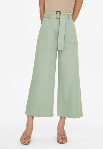 Pomelo blue Belted Wide Leg Pants - Mint D76FDAA59D5EB8GS_1