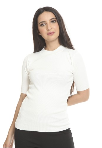 et cetera white Rib blouse with mock neck F9711AADEEEAF0GS_1