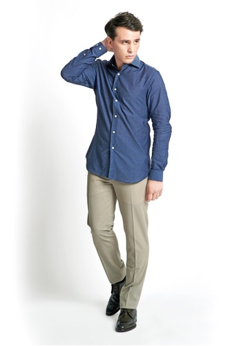 Gay Giano blue Slim Fit Chambray Wide-Spread Collar Dress Shirt 01893AA7AFEFE5GS_1