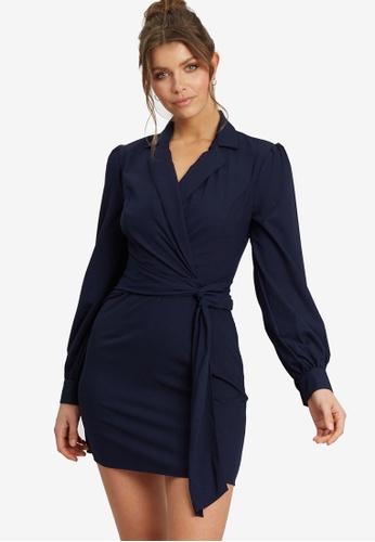 REUX blue Alex Belted Mini Dress 62F7BAA8635D87GS_1