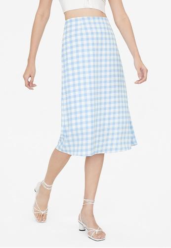 Pomelo blue Midi Gingham Skirt - Blue 6C880AAE628B4DGS_1