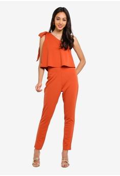 584b2dfc3 MISSGUIDED orange One Shoulder Bow Jumpsuit B4907AA88463A0GS 1