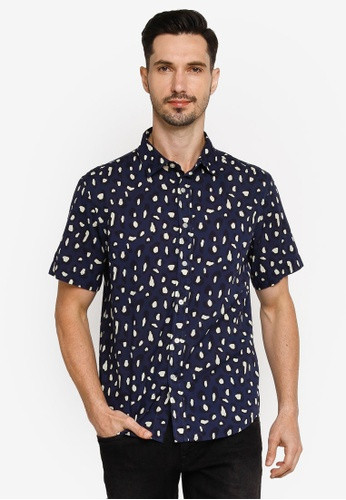 Banana Republic navy Leapord Print Shirt 2BFFEAA75695A0GS_1