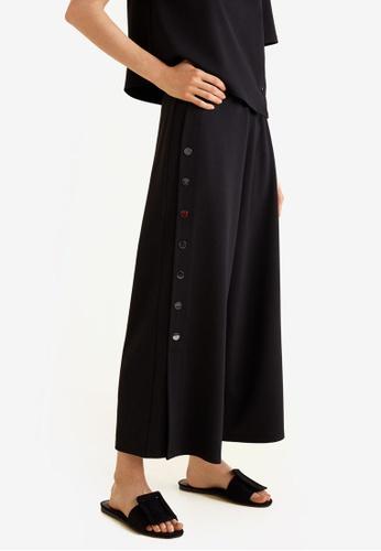 Mango black Buttons Culottes Trousers 9523CAA46EB31CGS_1