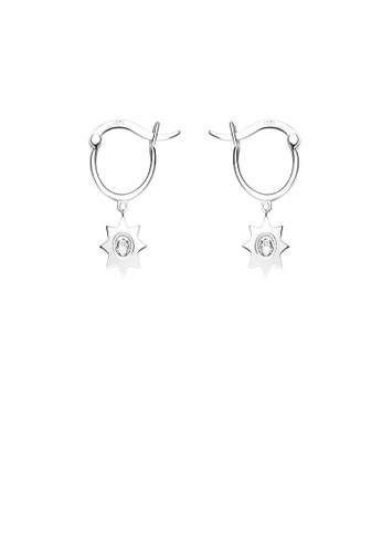 Glamorousky white 925 Sterling Silver Simple Star Earrings with Austrian Element Crystal 643F9ACDFB1E26GS_1