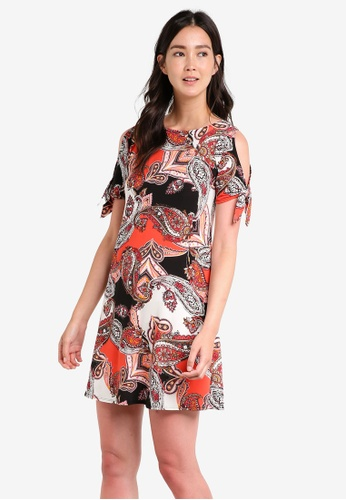 c17fadcf9f6 Wallis orange Petite Orange Paisley Print Tie Sleeve Dress WA800AA66DUNMY 1