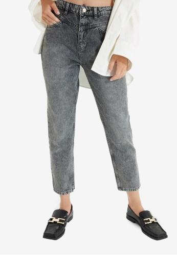 Trendyol grey High Waist Mom Jeans 12B9FAAAED3BECGS_1
