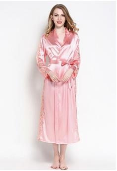 14cfe0e3c8 SMROCCO pink Silk Luxurious Women Long Robes L8005 (Pink) 47C5FAA4CC7DCCGS 1