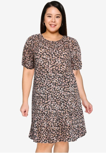 Only CARMAKOMA black Plus Size Pelly 3/4 Open Back Dress 251A3AA3E092C9GS_1