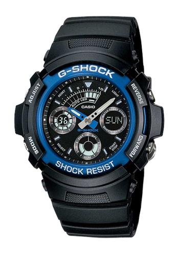 CASIO black Casio G-Shock Blue and Black Resin Watch 1AAE3AC47580EFGS_1